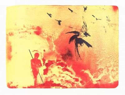 Stangl, Reinhard, Mann mit Vögeln